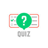 Quiz logo with exam test. Concept of tv show, support, faq, vote, query, forum, who issue, knowledge verification. flat style trend modern quizz emblem design Royalty Free Stock Image