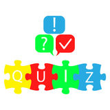 Quiz logo with speech bubble symbols. Vector illustration in flat style Stock Images