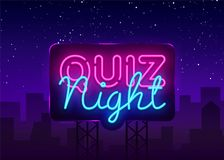 Quiz night announcement poster vector design template. Quiz night neon signboard, light banner. Pub quiz held in pub or. Bar, night club. Questions game bright royalty free illustration