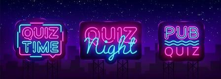 Quiz night collection announcement poster vector design template. Quiz night neon signboard, light banner. Pub quiz held. In pub, bar, night club. Pub team game vector illustration