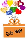 QUIZ NIGHT on gift box with multicoloured hearts Royalty Free Stock Photos