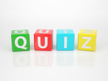 Quiz out of multicolored Letter Dices Royalty Free Stock Photos