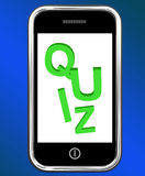 Quiz On Phone Means Test Quizzes Or Questions Online Royalty Free Stock Photo