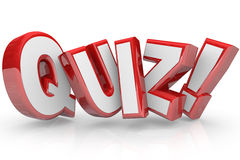 Quiz Red 3D Word Test Exam Assessment. The word Quiz in red 3D letters to illustrate an exam, evaluation or assessment to measure your knowledge or expertise Stock Image