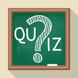 Quiz on school board. Message on the quiz on the school board. Vector illustration of a flat design. Question mark drawn in chalk. Template for the test Stock Photo