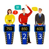 Quiz show. Answering people on quiz game vector illustration, gaming show with questions and answers, standing persons. And buttons on buzzers isolated on white stock illustration