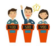 Quiz show, game concept. Players answering questions standing at stand with buttons. Vector flat illustration. Quiz show, game concept. Players answering vector illustration