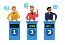 Quiz show people. Tv contest answering persons with podium. Cartoon conundrum, quiz game vector concept stock illustration