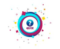 Quiz sign icon. Questions and answers game. Quiz with question mark sign icon. Questions and answers game symbol. Colorful button with icon. Geometric elements royalty free illustration