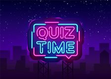 Quiz Time announcement poster neon signboard vector. Pub Quiz vintage styled neon glowing letters shining, Light Banner. Questions team game.Vector stock illustration
