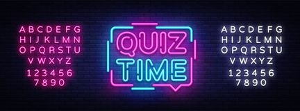Quiz Time announcement poster neon signboard vector. Pub Quiz vintage styled neon glowing letters shining, Light Banner Royalty Free Stock Images