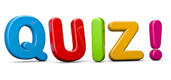 Quiz. The word Quiz in red 3D letters to illustrate an exam, evaluation or assessment to measure your knowledge or expertise Royalty Free Stock Photography
