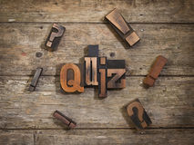 Quiz written with letterpress type Royalty Free Stock Images