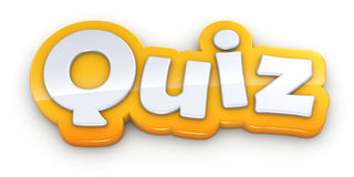 Quiz yellow word text on white background Royalty Free Stock Photo