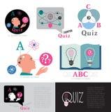 Quizembleem Moderne embleemtest voor intelligentie Stock Afbeeldingen