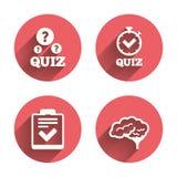 Quizpictogrammen Controlelijst en menselijke hersenensymbolen Royalty-vrije Stock Fotografie