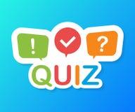 Quizu logo z mowa bąbla symbolami, pojęcie kwestionariuszu przedstawienie śpiewa, wypytuje, guzika, pytanie rywalizacja również z ilustracja wektor
