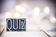 Quizu pojęcia rocznika Letterpress typ temat zdjęcia stock