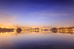 qujiang水池黎明破坏公园, xian市,瓷 库存图片