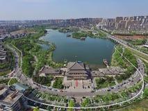 Qujiang Seelandschaft in Xian China Lizenzfreie Stockfotos