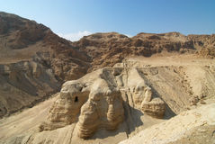 Qumeran Caves by The Dead Sea. Caves where Dead Sea Scrolls were Discovered Stock Photos