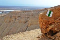 Qumran洞在Qumran国立公园,死海纸卷找到,Judean沙漠远足,以色列 图库摄影