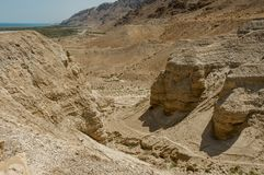 Qumran Cave with the dead sea royalty free stock photography