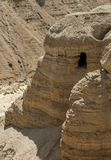 Qumran Cave with the dead sea royalty free stock images