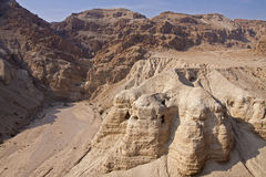 Qumran Caves. Qumran is located on a dry plateau about a mile inland from the shore of the Dead Sea. It is the place were the Dead Sea Scrolls were found Stock Photography