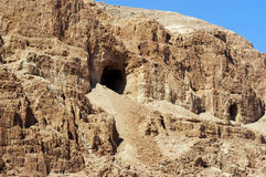 Qumran Caves. Big cave in Qumran near the Dead sea, Israel Royalty Free Stock Photography