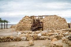 Archaeological site in Qumran National Park, Israel. Qumran Caves, archaeological site of Qumran National Park in Judaean Desert near the Dead Sea in Israel Stock Photo