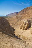Qumran in Israel. Gorge in desert cut by a Qumran creek  Dead Sea Stock Image