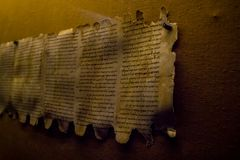 Qumran Caves Scrolls in Israel. QUMRAN, ISRAEL - JANUARY 28: Dead Sea Scrolls, Qumran Caves Scrolls, manuscripts found near the Dead Sea in the Qumran Caves Stock Photography