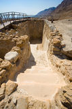 Qumran in Israel. One of the water reservoirs in Qumran in Israel Stock Images