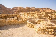 Qumran, waar de dode overzeese rollen werden gevonden Royalty-vrije Stock Foto