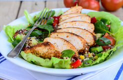 Qunioa salad with grilled chicken stock photography