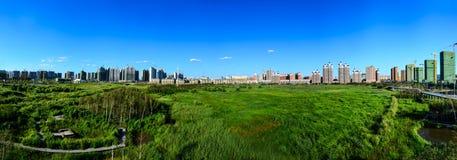Qunli国家都市沼泽地公园 免版税库存照片