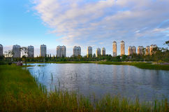 Qunli Lilac Park. Qunli New District is a newly developed area of Harbin. It's located in the west of Harbin downtown and the south bank of Songhua River. It's stock photos
