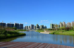 Qunli Sports Park. Qunli New District is a newly developed area of Harbin. It's located in the west of Harbin downtown and the south bank of Songhua River. It's royalty free stock images