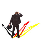 Quo vadis germany?. Businessman scratching head when thinking about the future of germany Royalty Free Stock Images