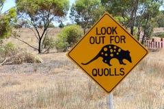 Quolls varningsvägmärke, södra Australien Arkivbilder