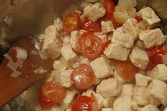 Quorn and tomatoes Royalty Free Stock Photos