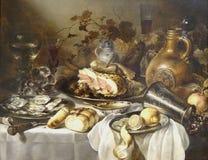 """""""Nature morte au jambon"""", Pieter Claez, entre 1640 et 1649.  Musée du Petit Palais, Paris. Royalty Free Stock Photo"""