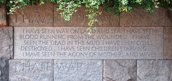 Quotation in Franklin Delano Roosevelt Memorial Stock Photo