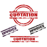 Quotation / Invoicegrunge stamp set. Set of four Quotation and Invoice grunge stamp, red,black, stamp colors two  different types ,isolated on white.png file Royalty Free Stock Photos