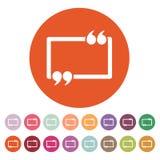 The Quotation Mark Speech Bubble icon. Quotes, citation, opinion symbol. Flat Stock Photos