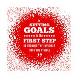 Quotation about setting goals, against the backdrop of texture from the letters of the alphabet. Vector illustration Stock Image