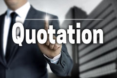 Quotation touchscreen is operated by businessman Royalty Free Stock Photography