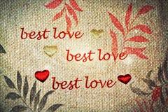 Quotational för förälskelse för Grungetappning bästa royaltyfri bild