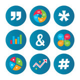 Quote, asterisk footnote icons. Hashtag symbol. Stock Photos